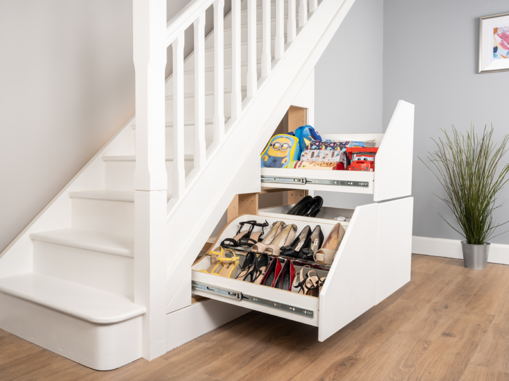 3 Drawer Under Stair Unit - Space for Vacuum Cleaners, Kids School Bags & Shoes